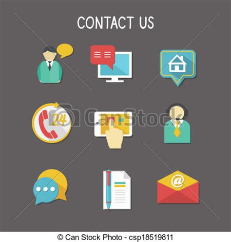 Phone Lookup Address Usa Vector Clip Of Contact Us Icons Contact Us Using Phone Call Email Website
