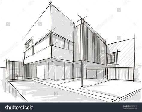 Architecture Sketch Stock Vector 225873019 Shutterstock Architectural Drawings Vector