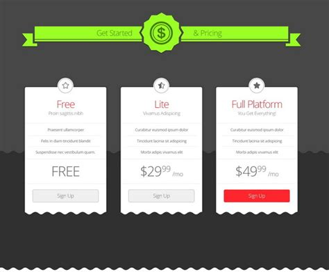 price plan design 35 free photoshop psd price templates for pricing tables