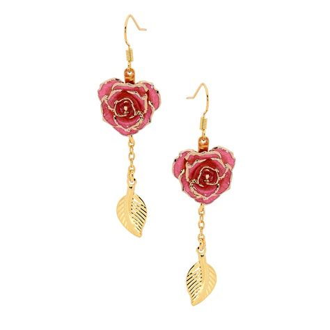 rose themed jewellery gold dipped rose pink matched jewelry set in leaf theme