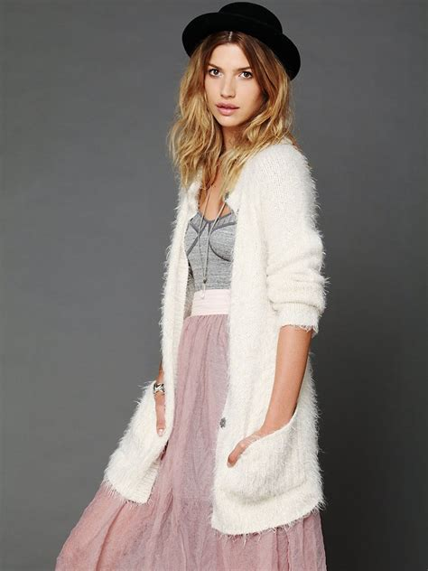 Baju Sweater Import Original White Winter Knit free keep it fuzzy cardigan in white lyst