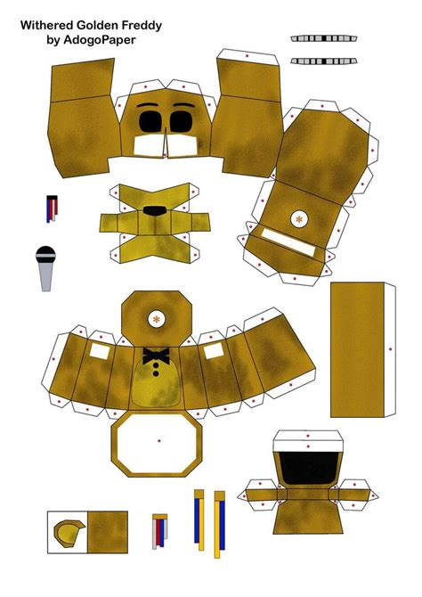 paper craft fnaf 2 golden freddy papercraft pt1 by adogopaper on