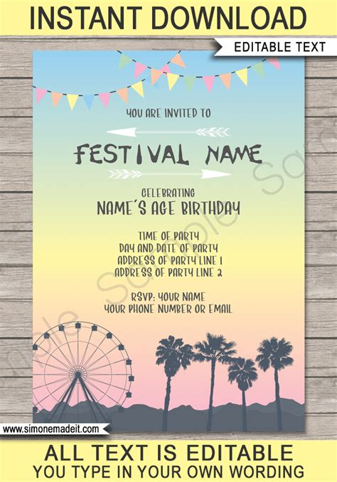 Coachella Themed Party Invitations Template Printable Festival Invite Themed Invitations Free Templates