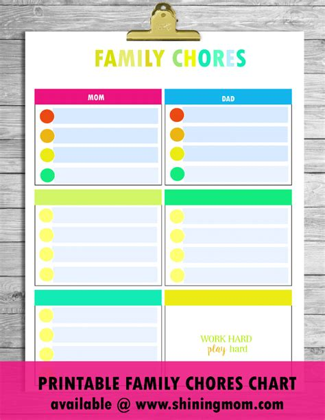 family chore chart template free printable chore charts that work