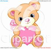 Royalty Free RF Clipart Illustration Of A Cute Teddy Bear With Pink