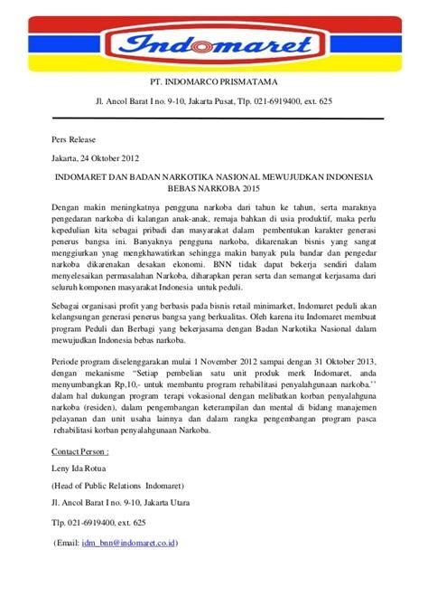 contoh layout indomaret press release indomaret peduli dan berbagi