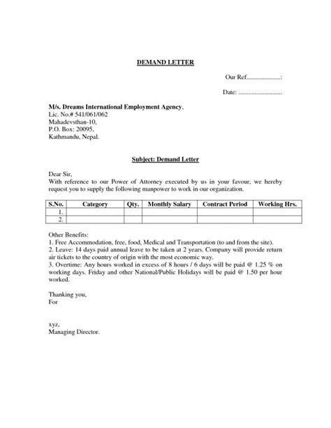 payment demand letter template free free sle demand letter for payment template business