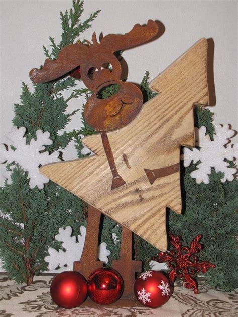 edelrost elch max mit weihnachtsbaum aus holz angels