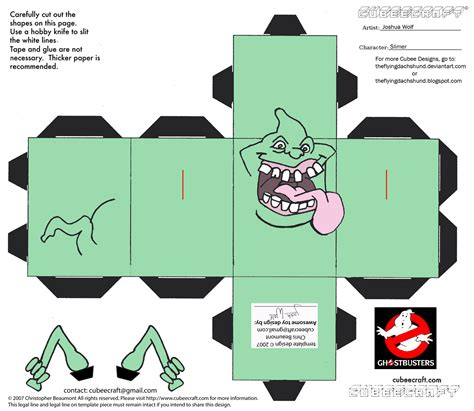 Ghostbusters Papercraft - gb1 slimer cubee by theflyingdachshund on deviantart