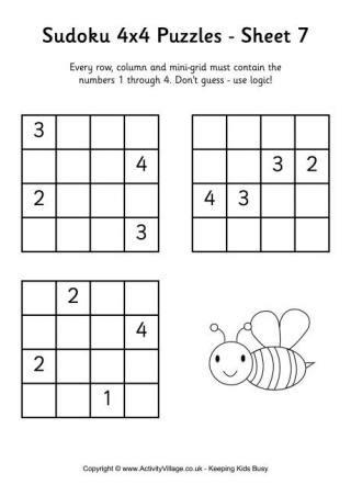 printable sudoku 4x4 sudoku 4x4 puzzle 1