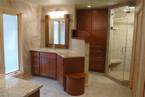 sunny bathroom photo bath features sunny flower granite cherry wood and