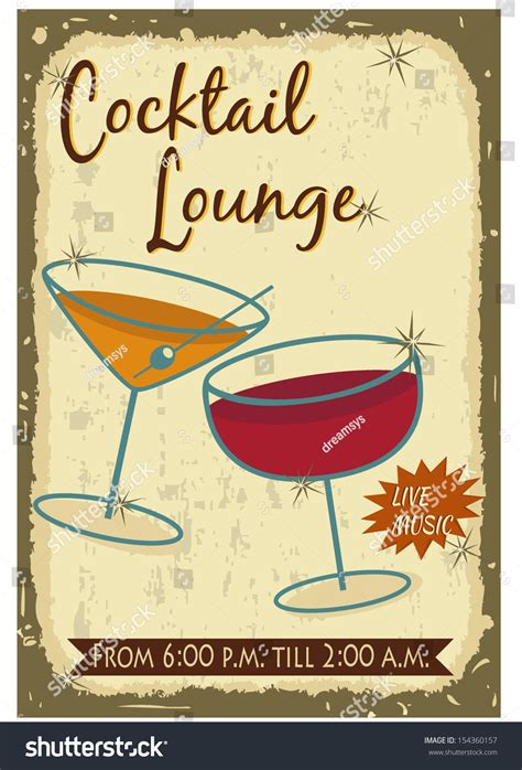 vintage cocktail party poster vintage cocktail poster stock vector illustration