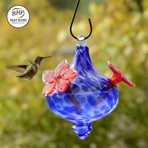 Blown Glass Hummingbird Feeder   Flower Vase with Blue