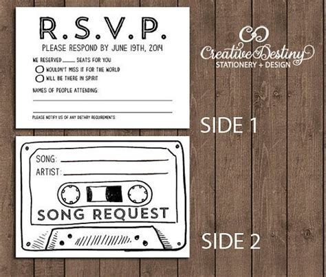 Vintage Wedding Song List by 50 Cassette Song Request Rsvp Cards Wedding