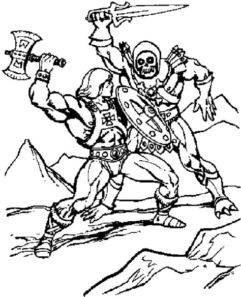 battle cats coloring pages he man fighting skeletor 2 b sorted pinterest adult
