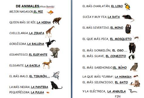 poema de los animales de 4 estrofas que rimen el aula de infantil de charo poes 237 a de animales de