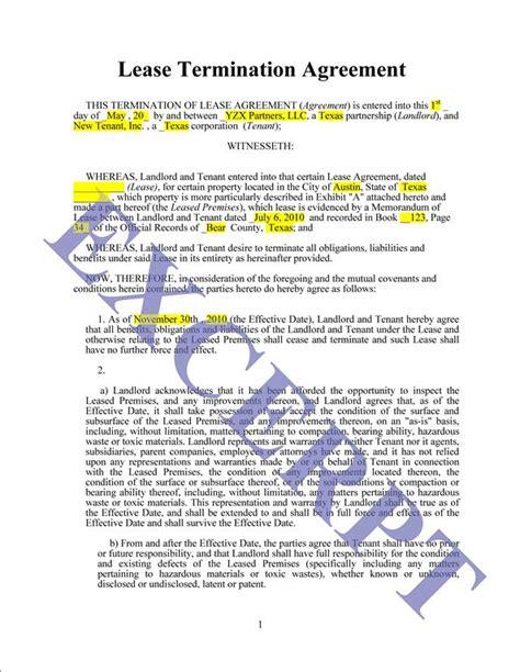 Lease Termination Agreement Template Free Termination Of Lease Agreement Form Free Printable Documents