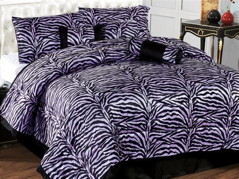 7 pc micro fur flocking zebra pattern comforter set purple