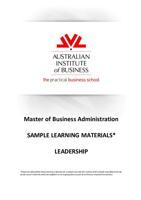Australian Institute Of Business Mba Linkedin mba lead learning materials