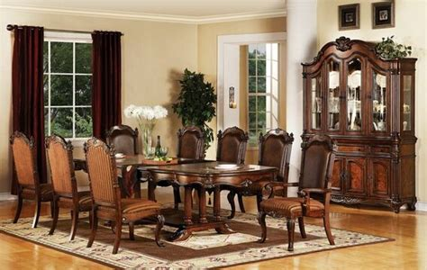 Traditional Dining Room Chair Fabric 7 Pc Remington Cherry Brown Finish Wood Pedestal