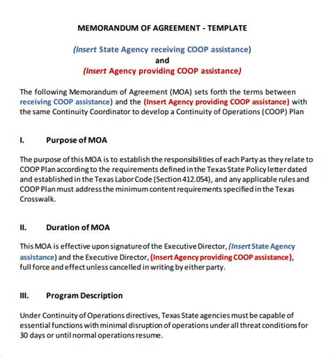 memo of understanding template memorandum of agreement 11 free pdf doc