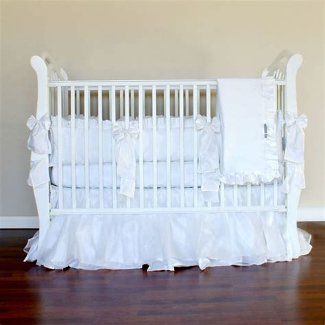 All White Crib Bedding by Snowflake White Silk Crib Linens Traditional Baby