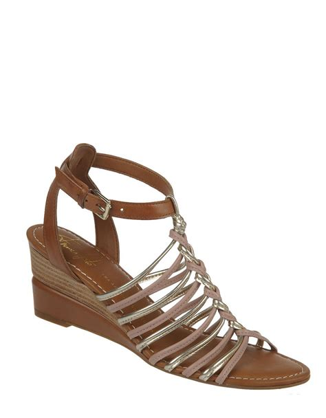 franco sarto sandals franco sarto everly leather wedge sandals in pink lyst