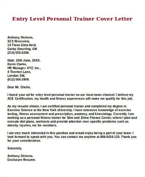 personal trainer cover letter sle entry level cover letter 8 exles in word pdf