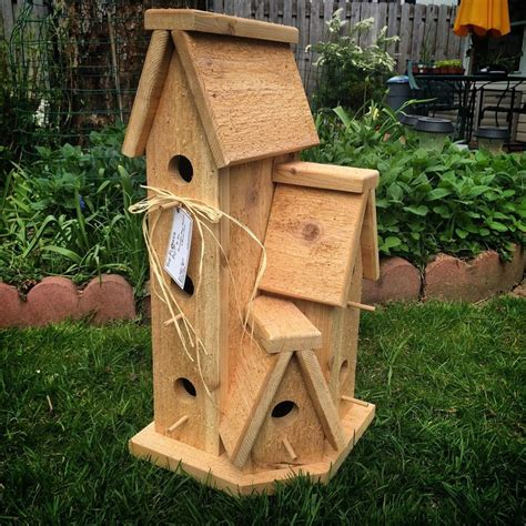 large cedar wood outdoor birdhouse condo bird house bird