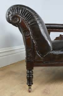 edwardian mahogany leather chaise longue c 1900