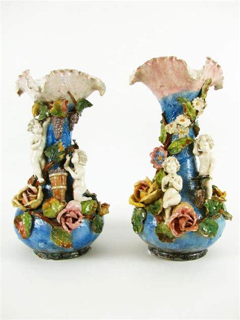 vasi liberty coppia di vasi liberty in ceramica policroma