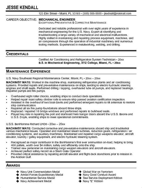 resume for mechanical engineer 2017