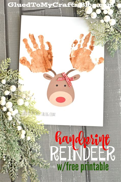 Photoshop Card Templates Place Faces Into Reindeer by Handprint Reindeer W Free Printable Template Glued To My