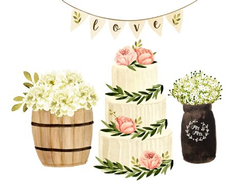 Rustic Wedding Clipart cake clipart wedding clipart watercolor wedding clipart