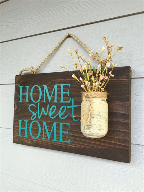 rustic outdoor teal home sweet home wood signs front door