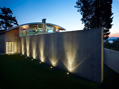 The Outdoor Lighting Company Lighting Exposed Concrete Wall West Seattle Residence With Spectacular Inlet Views