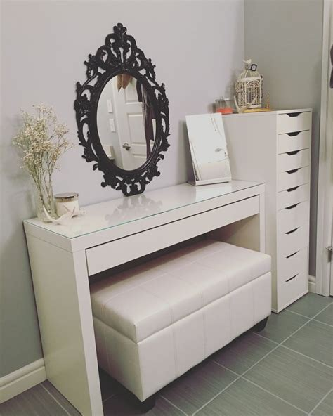 make up bench updated vanity malm desk ikea alex drawers ikea