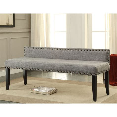 Slim Upholstered Bench Furniture Of America Flax Upholstered Backed Accent