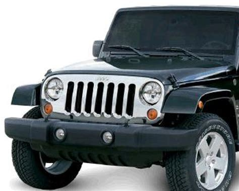 Jeep Wrangler Grill Cover Jeep Wrangler Jk Chrome Grille Cover 2007 2017 Xxx12033 05