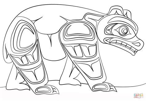 printable native art haida art bear coloring page free printable coloring pages