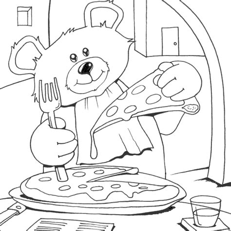 coloring pages with pizza bear eat pizza coloring pages cooking illustrations