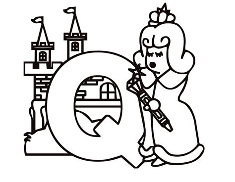 printable letter q kiddy coloring page from