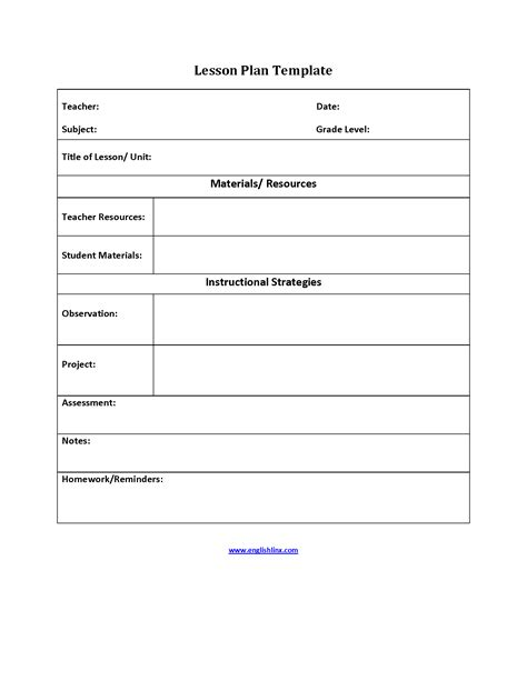 Englishlinx Com Lesson Plan Template Simple Lesson Plan Template