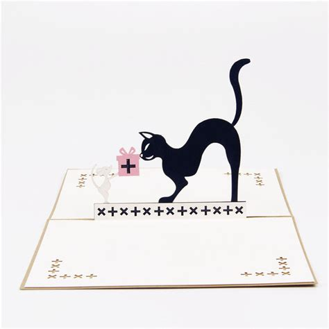 Post Card Cat Greeting Card Sno038 3d laser cut handmade black cat mouse paper invitation greeting cards postcard children s