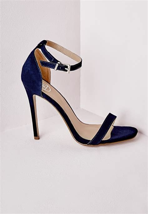 navy blue heeled sandals missguided barely there heeled sandals navy faux suede in