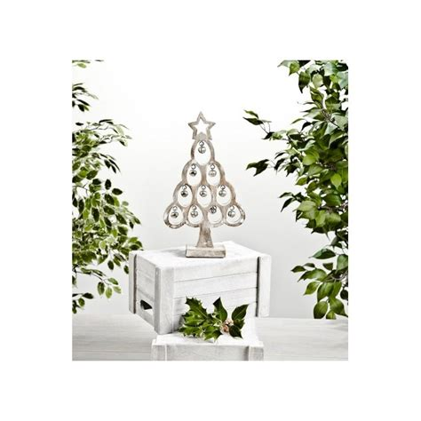 wooden christmas tree star with bell distressed white