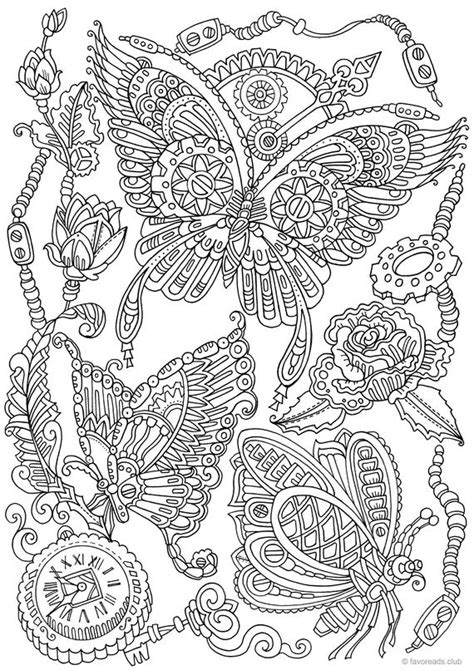 Steampunk Butterflies Printable Adult Coloring Page from