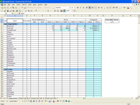 excel template list grocery list template excel