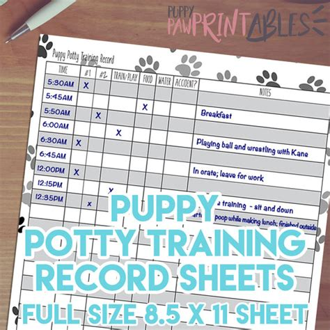 puppy bathroom schedule printable puppy potty training record instant download