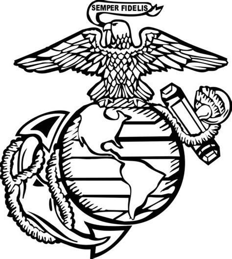 marine corps symbol pencil coloring pages